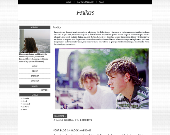 Feathers Blogger Template