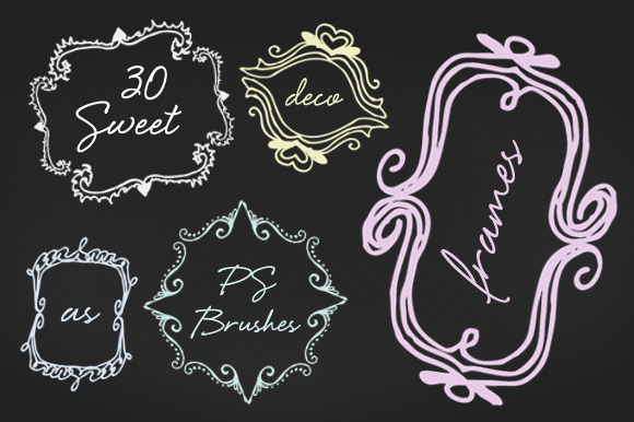 30 Sweet Deco Frames PS Brushes