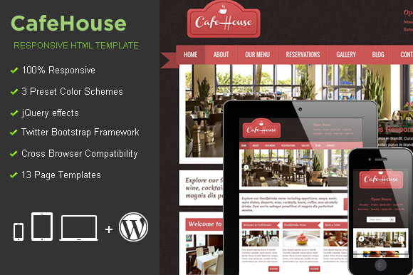 CafeHouse Responsive HTML Template