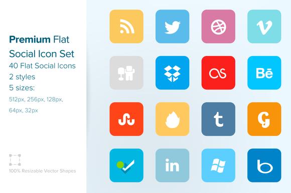 Premium Flat Social Icon Set
