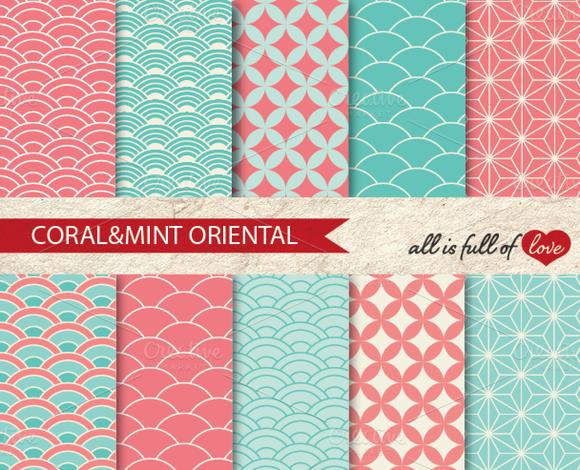 Japanese Background Patterns Print
