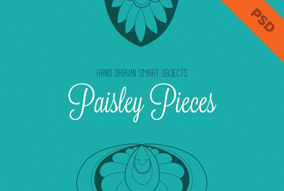 Hand Drawn Paisley Pieces PSD