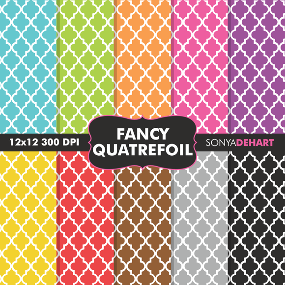 Fancy Quatrefoil Digital Papers