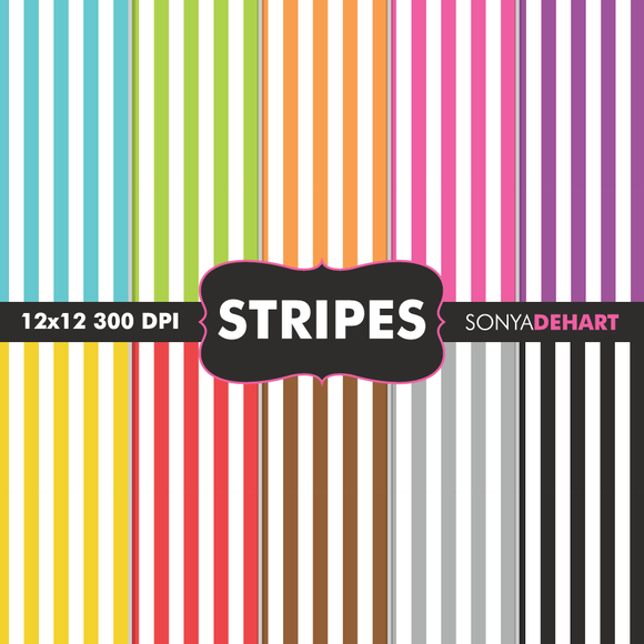 Striped Digital Paper Patterns
