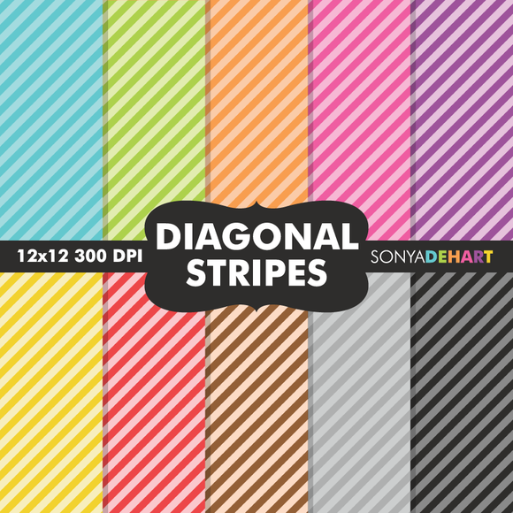 Diagonal Striped Digital Papers