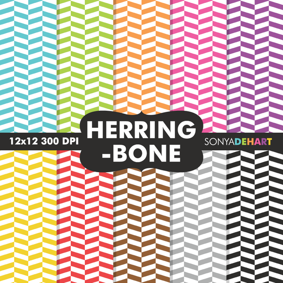 Herringbone Digital Paper Patterns