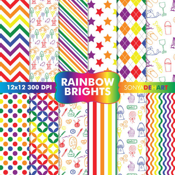 Rainbow Brights Digital Papers