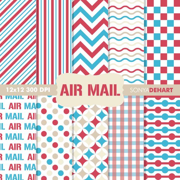 Air Mail Digital Paper Patterns