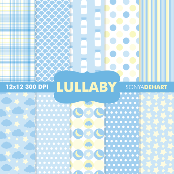 Baby Lullaby Blue Digital Papers