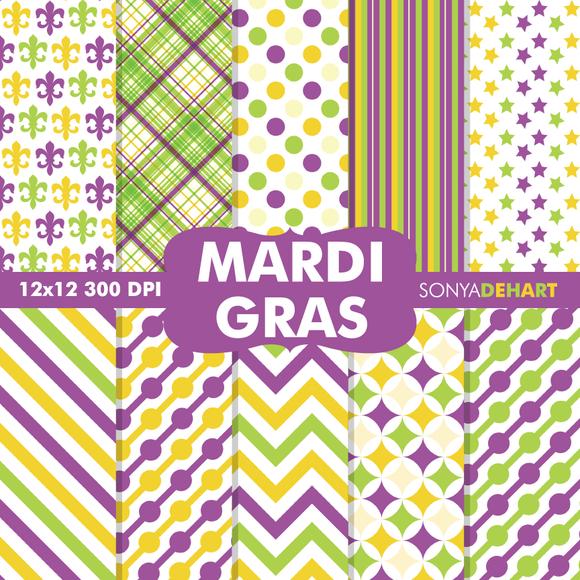 Mardi Gras Digital Paper Patterns