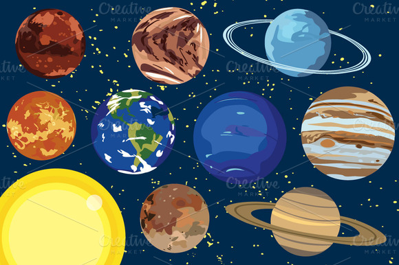 Solar System Planet Vector Clip Art