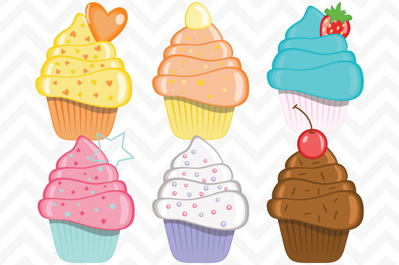 Clip Art Birthday Cupcakes Vector