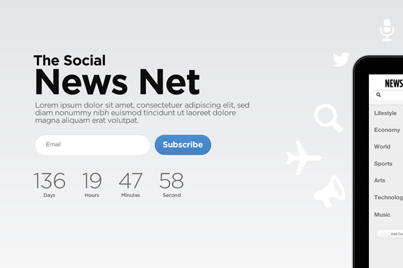 Countdown Page PSD Template