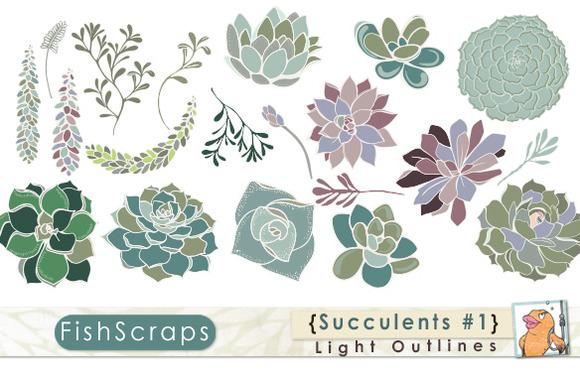 Succulents Clip Art Light Outlines