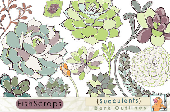 Succulents ClipArt Dark Outlines