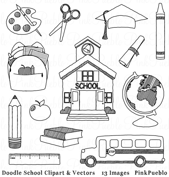 Doodle School Clipart And Vectors