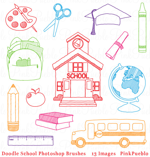 Doodle School Photoshop Brushes