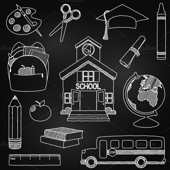 Chalkboard School Clipart Vectors