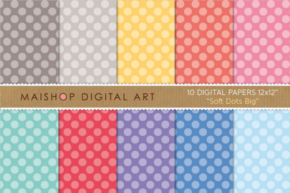 Digital Papers Soft Dots Big
