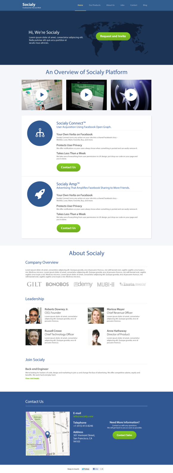 Single Corporate Page Template