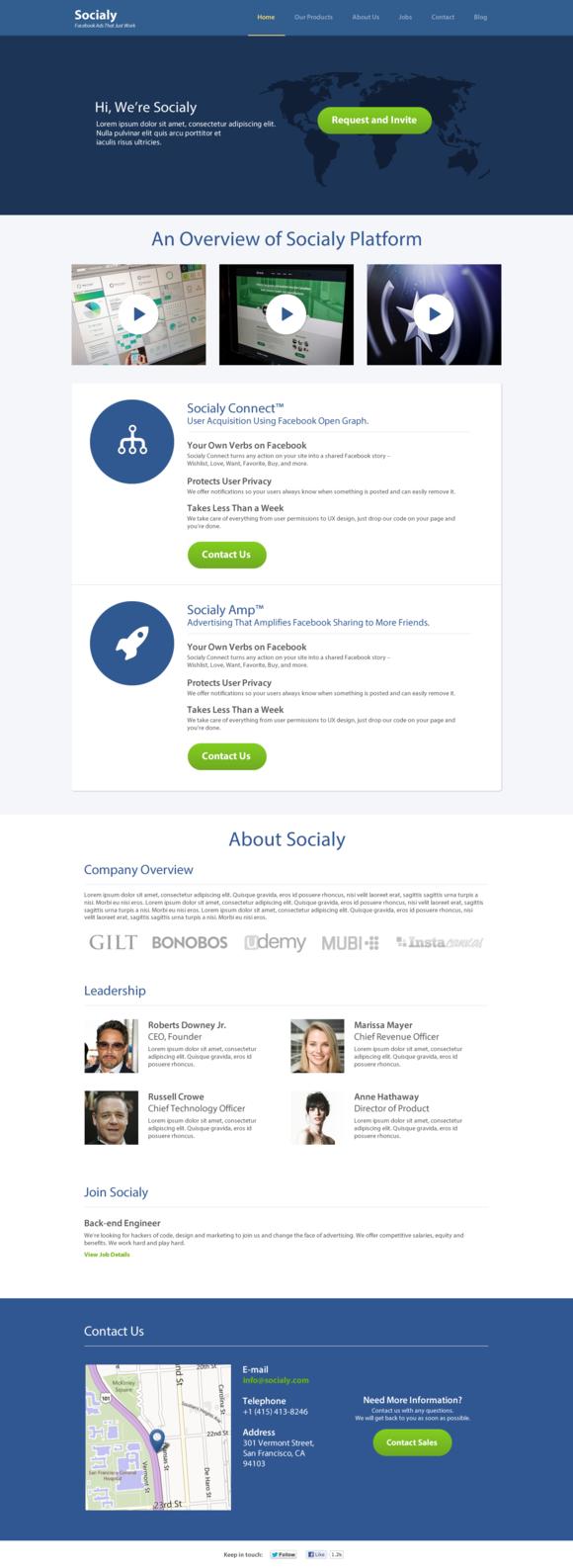 Single Corporate Page Template