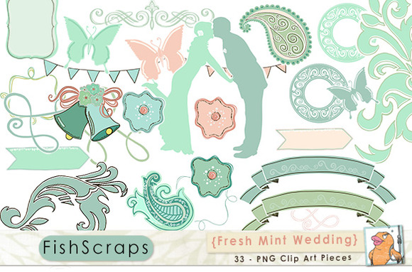 Fresh Mint Green Wedding Clip Art