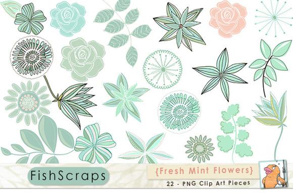 Mint Green Flower ClipArt Clip Art
