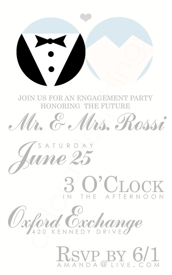 Bride Groom Engagement Party Invite