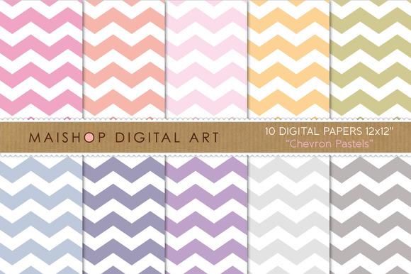 Digital Papers Chevron Pastels