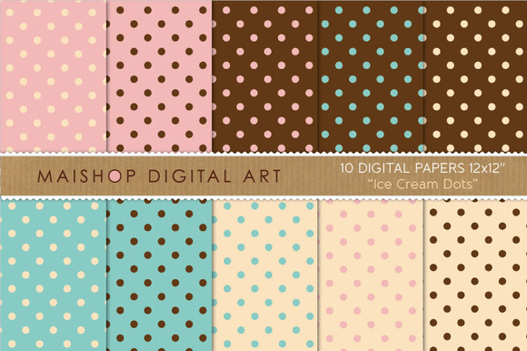 Digital Papers Ice Cream Dots