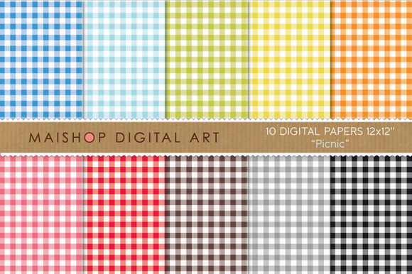Digital Papers Picnic Plaid Squares