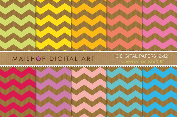 Digital Papers Chevron On Kraft II