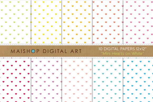 Digital Papers-Mini Hearts On White