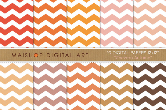 Digital Papers-Chevron Autumn