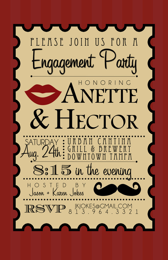 Lips And Mustache Party Invite
