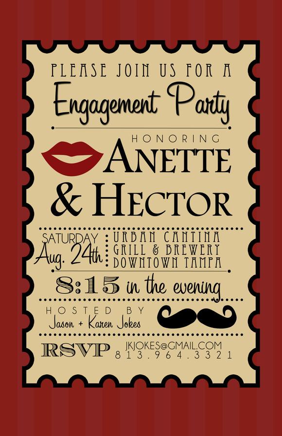 Lips And Mustache Party Invite