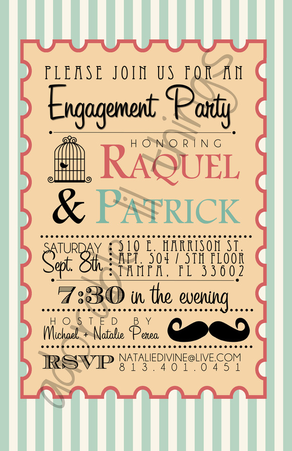 Whimsical Engagement Party Invite