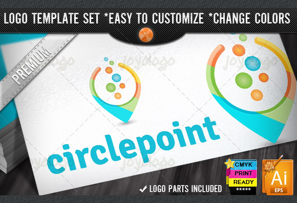 3D Circle Bubbles Chat Point Logo