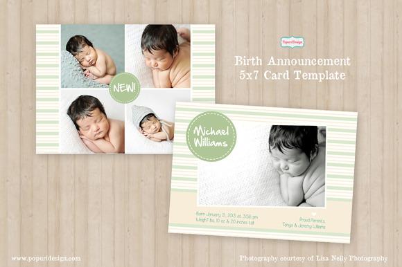 5x7 Birth Announcement Card Template