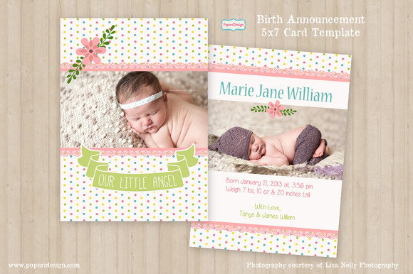 5x7 Birth Announcement Card