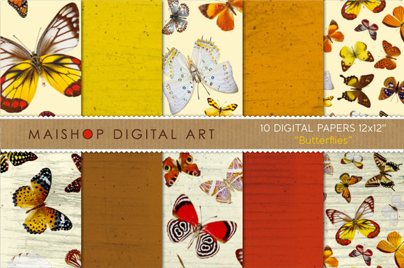 Digital Papers-Butterflies