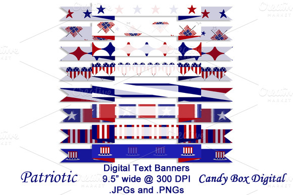 Patriotic Digital Text Banners