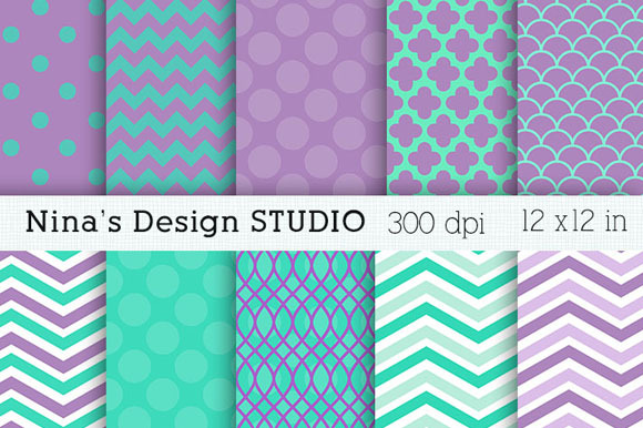 Purple And Aqua Digital Papers