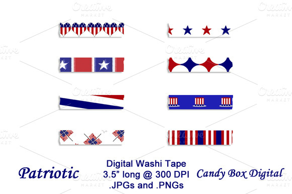 Patriotic Digital Washi Tape