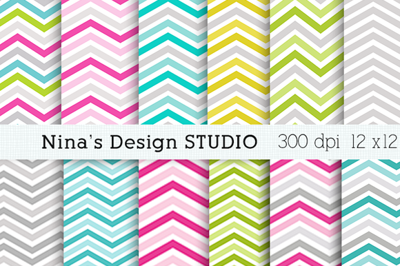 Colorful Chevron Digital Papers