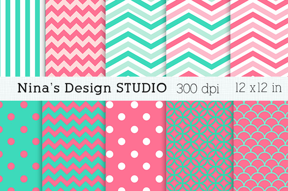 Coral And Aqua Digital Papers
