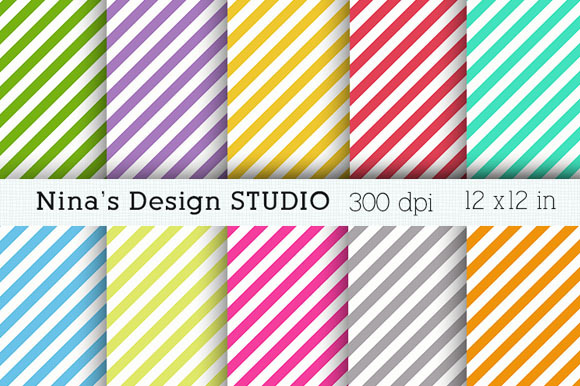 Diagonal Stripes Digital Papers