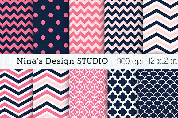 Navy And Pink Digital Papers