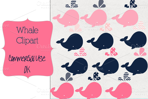 Whale Clipart-navy And Pink