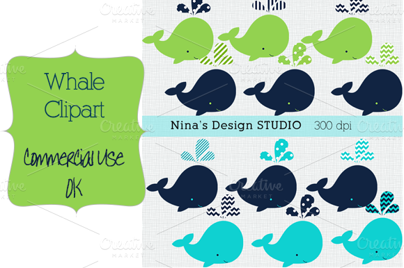 Whale Clipart-green And Blue